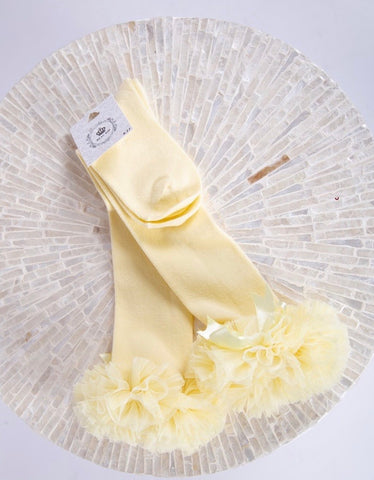 beau kid long tutu socks yellow bow tutu gillytots
