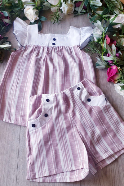 Girls Two Piece Stripe Top and Shorts Set