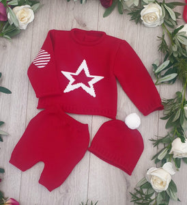 Unisex Baby Knitted Three Piece Outfit - Red