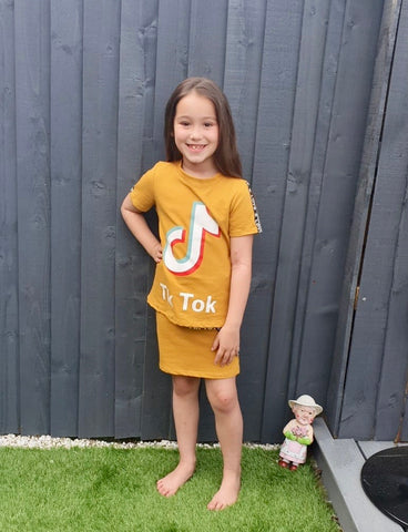 Girls Top and Skirt Set - Mustard