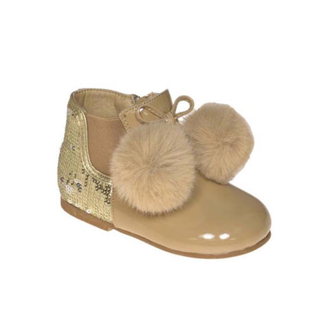 couche tot girls pom pom shoe boots camel shimmer chalie fur boots