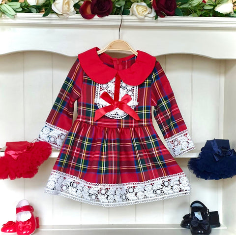 girls tartan lace christmas dress girls dresses checked christmas dresses