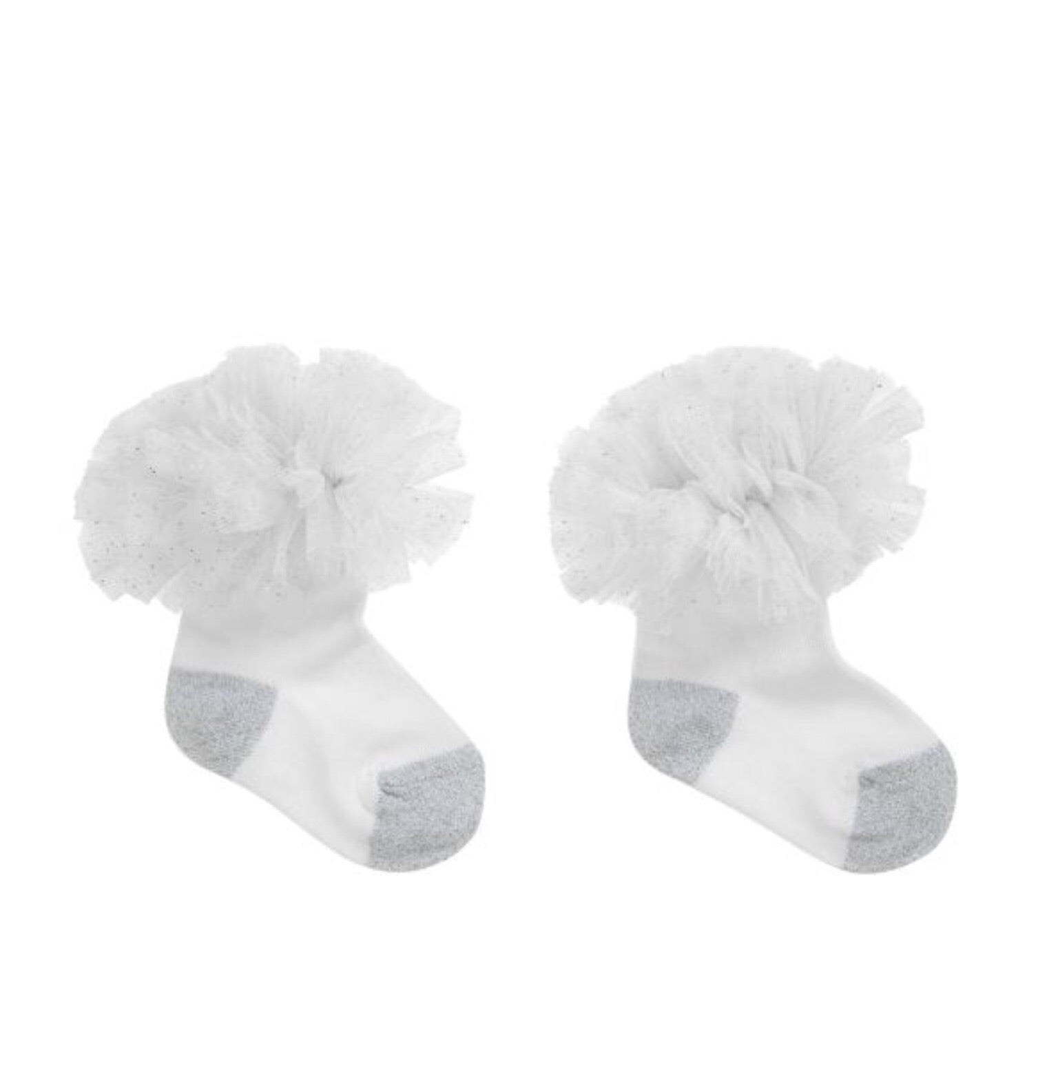 Beau Kid Silver and White Tutu Socks