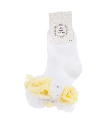 beau kid rose bud yellow frilly tutu socks lemon white gillytots childrens boutique