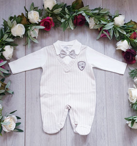 baby boys all in one dicky bow babygrow