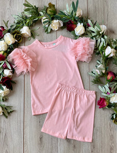 pink puffball sleeve girls top and shorts set