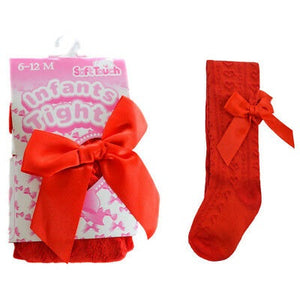 soft touch infant baby girls red bow tights winter