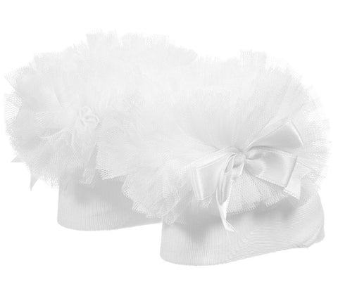 Caramelo Kids White Tutu Socks With Bow