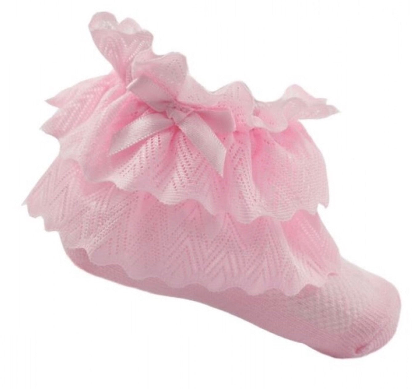pink baby girls zigzag lace ankle socks soft touch