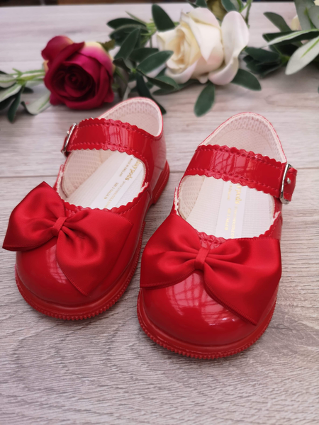 red girls hard sole baypods baby shoes with bow