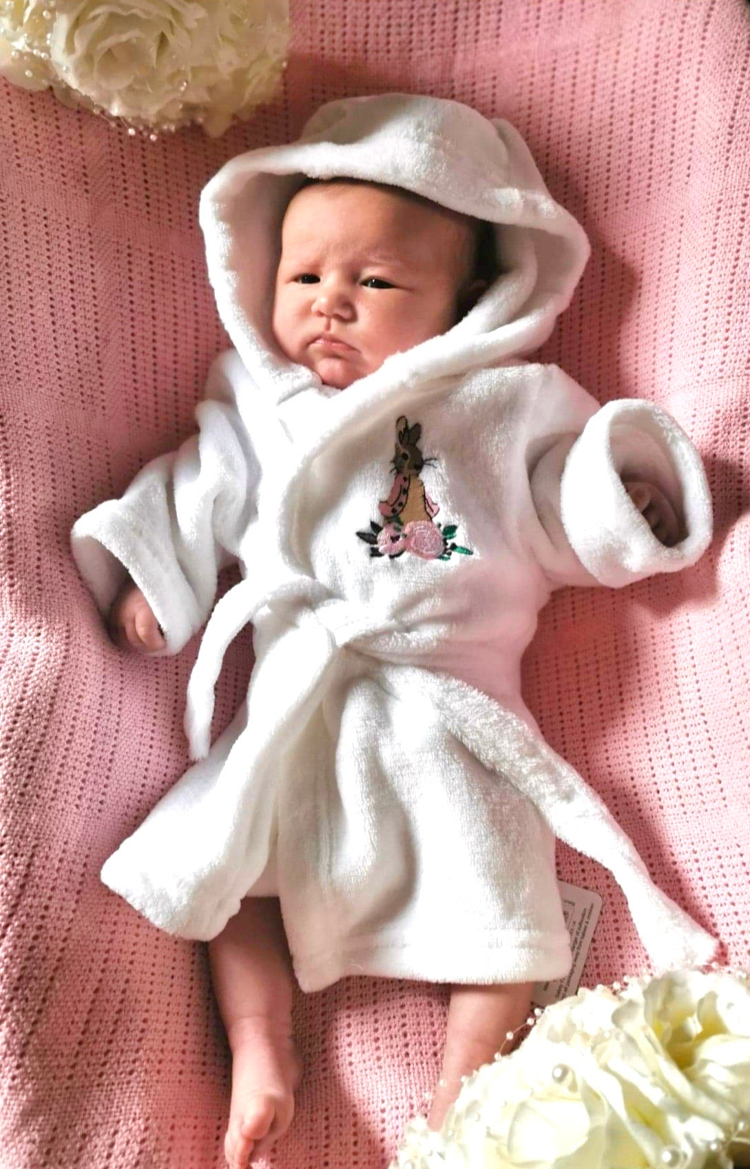 Flopsy Bunny Soft Touch Dressing Gown/Robe - White