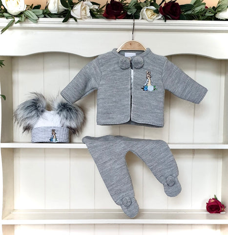 peter rabbit babywear peter rabbit outfit peter rabbit baby pom pom grey dandelion pom pom outfit beatrix potter collection