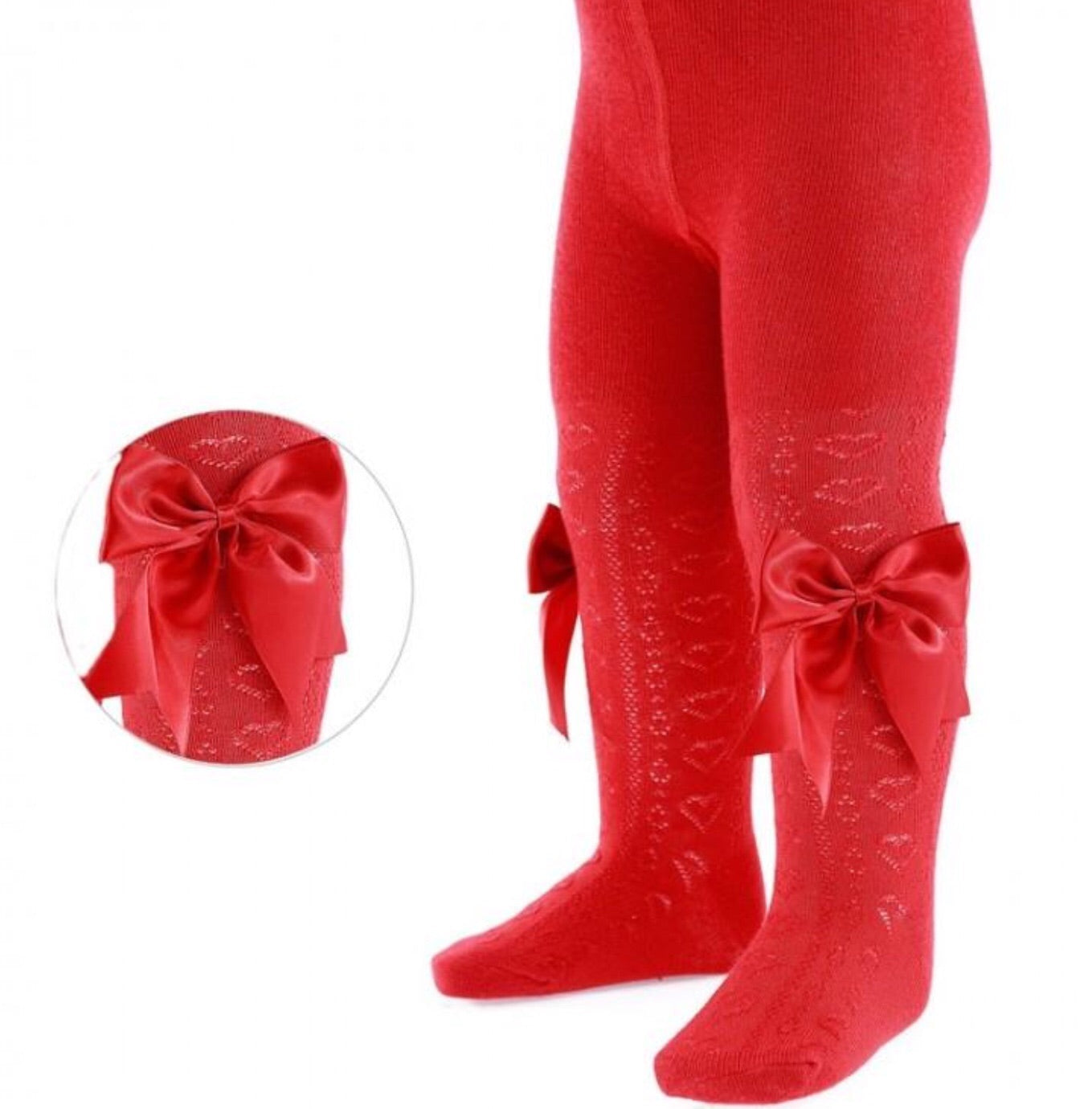 Soft Touch Infant Red Bow Tights