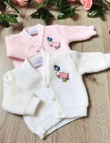 premature tiny baby soft knit knitted cardigan jemima puddleduck beatrix potter