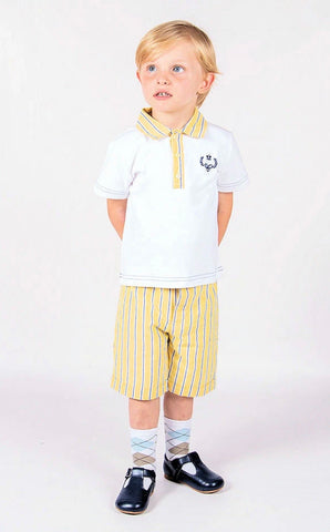 beau kid boys lemon easter top and short set yellow