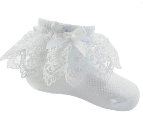 white flower lace bow socks soft touch baby girls