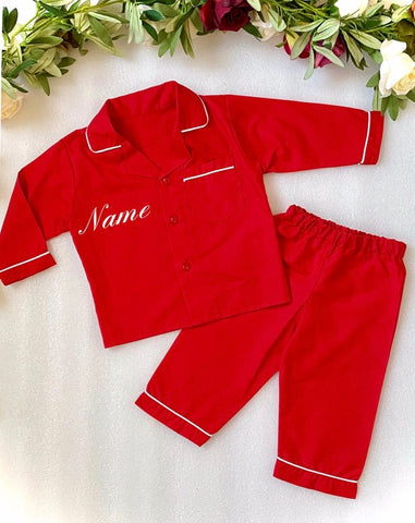 personlised pj pjs pyjarmas pyjamas nightwear red christmas