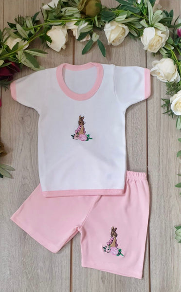 flopsy baby girls top and shorts pink summer beatrix potter set