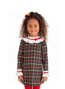 alber girls Checked drop dress with frilly collar childrens clothing baby wear