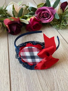 Ceyber Checked Headband - Navy/Red