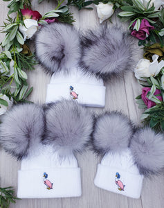jemima puddleduck grey fur double pom pom hat gillytots childrens boutique