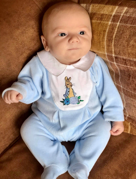 Peter Rabbit Velour BabyGrow - Blue