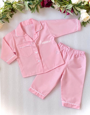 pink baby girls personalised pyjamas