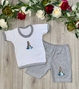 peter rabbit grey beatrix potter bunny rabbit summer top and shorts set gray top and shorts set