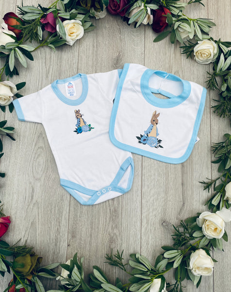 peter rabbit beatrix potter vest bib blue trim beatrix potter