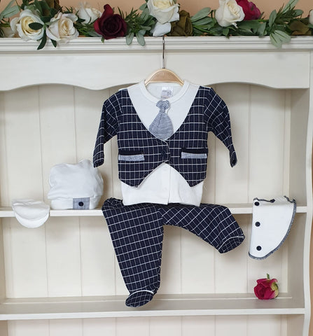 checked baby boys 5 piece waistcoat outfit mitts hat bibs set
