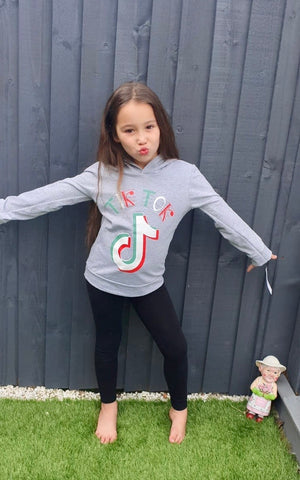 TikTok Hooded Grey Girls clothings girks wear hoodies Tik Tok