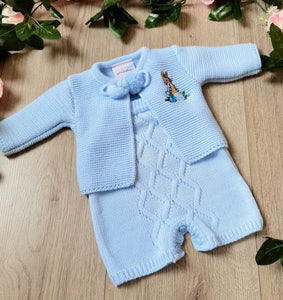 peter rabbit beatrix potter two piece blue knitted romper set