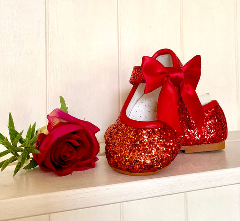 mary jane couch tot shimmer side bow shoes shoe hard sole christmas shoes