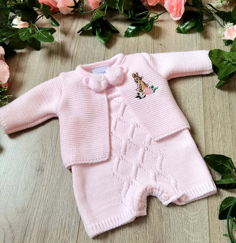 flopsy bunny dandelion soft knitted two piece short dungaree and cardian set pink prem premature tiny baby small baby romper set