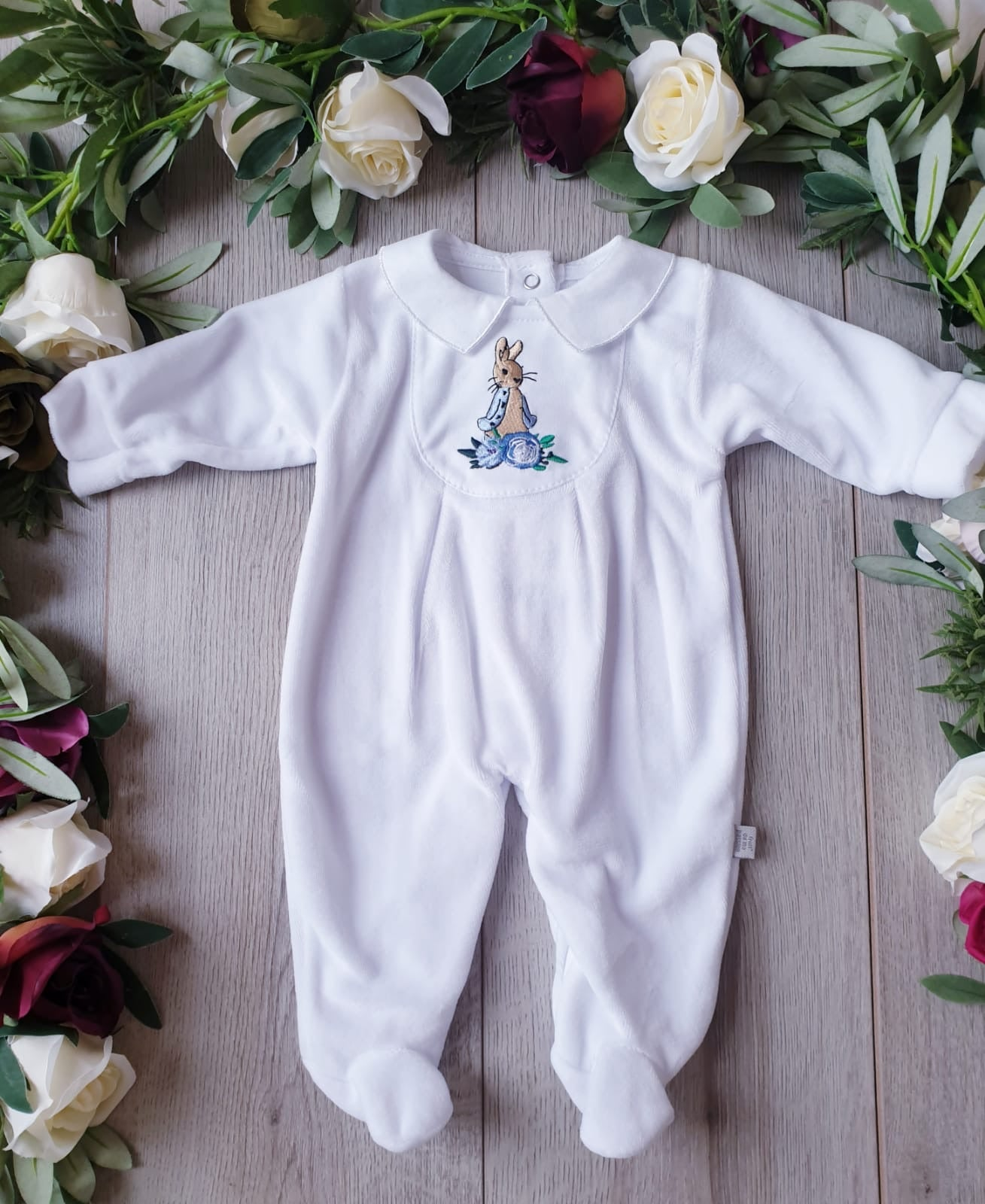 peter rabbit baby boys velour babygrow gillytots