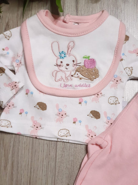 Premature Baby Girls Three Piece Set - Wildlife