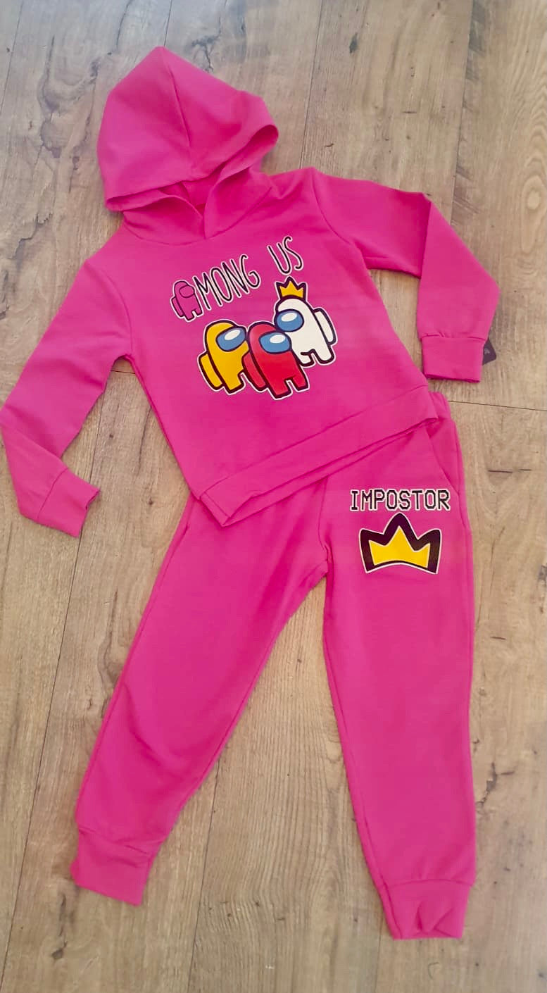 among us girls hooded two piece tracksuit loungewear set