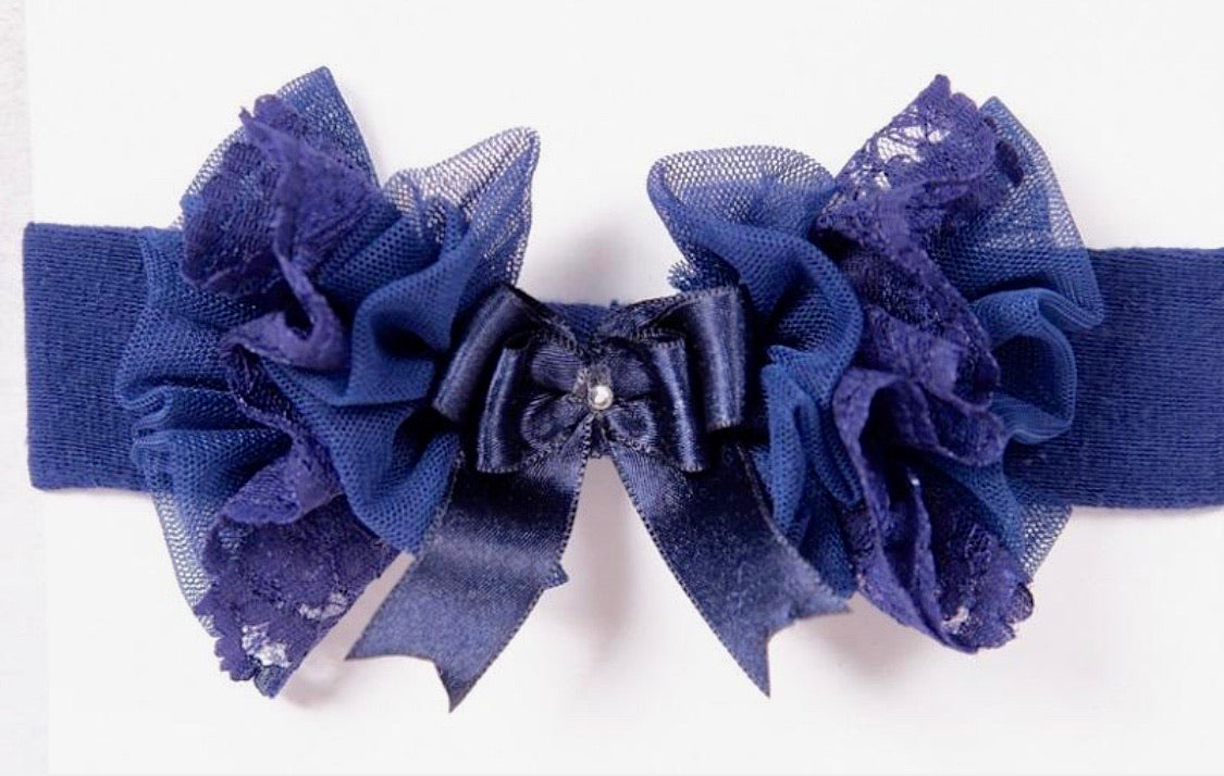 beau kid navy tutu lace bow headband