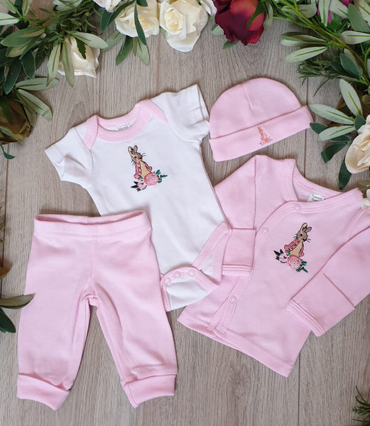 flopsy bunny beatrix potter premature prem babywear prem baby premature baby clothes pink flospy bunny set collection tiny baby small baby