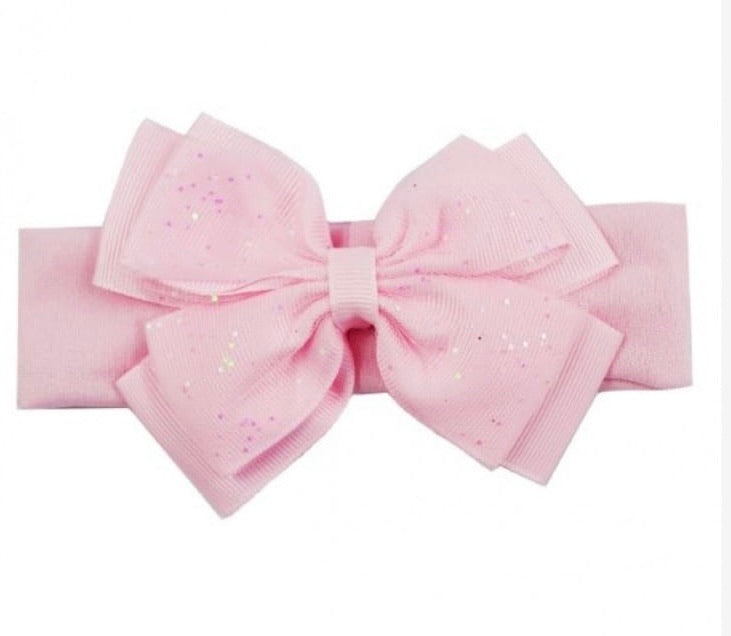 pink baby girls soft touch glitter headband bow shimmer baby girls hairbows headbands
