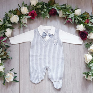 Gillytots Baby Boys All in One Dicky BabyGrow - Grey