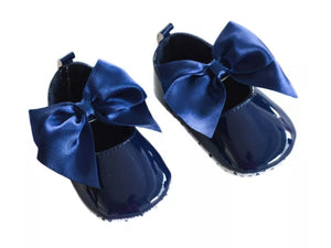 soft sole navy bow baby shoes