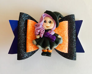 halloween witch hair bow accessory clay witch girls