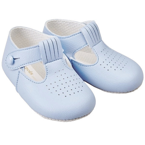 baby boys soft sole pram shoes light blue first steps baypods baypod