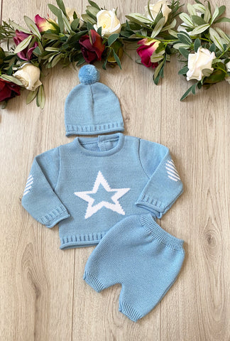 baby boys knitted baby wear star baby blue