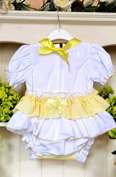 Jemima Puddleduck Lemon Frilly Romper Set