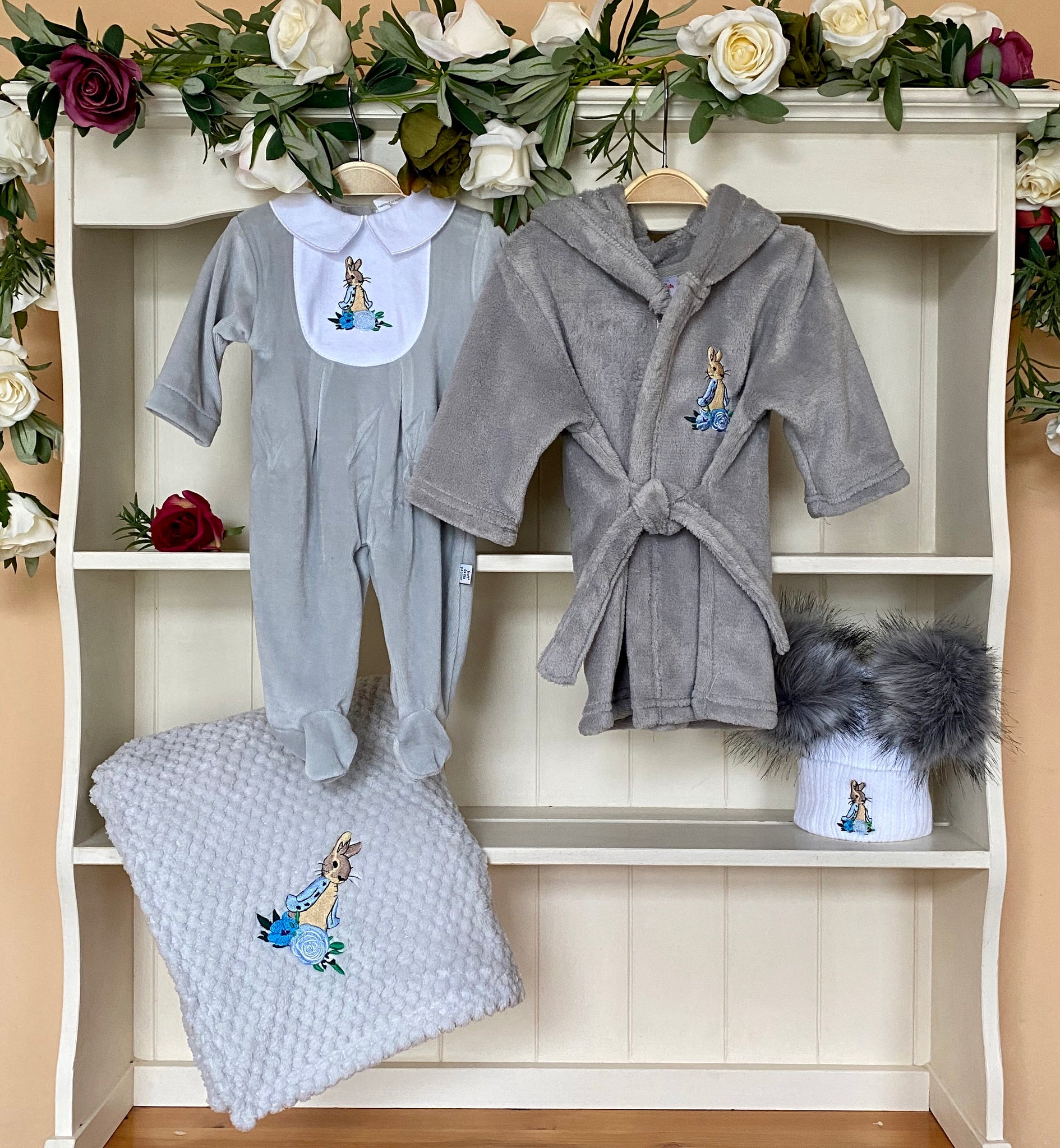 peter rabbit beatrix potter collection baby boys gillytots grey gillytoys all in one babygrow dressing gown hats blanket