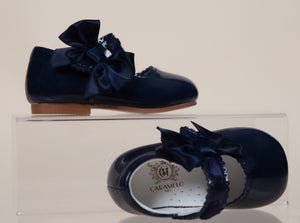 caramelo kids Navy Mary Jane Hard sole side bow patent leather shoes
