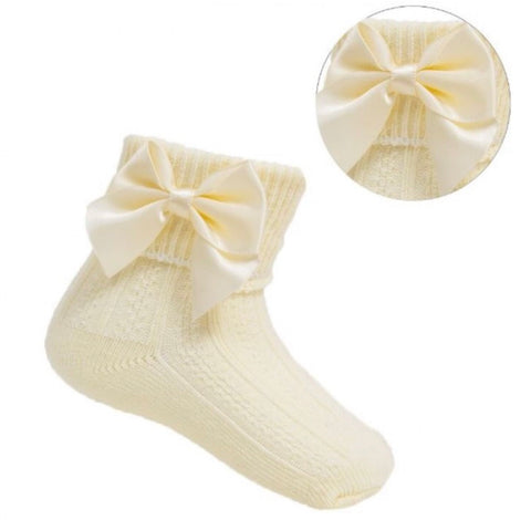 lemon baby girls ankle socks with bow