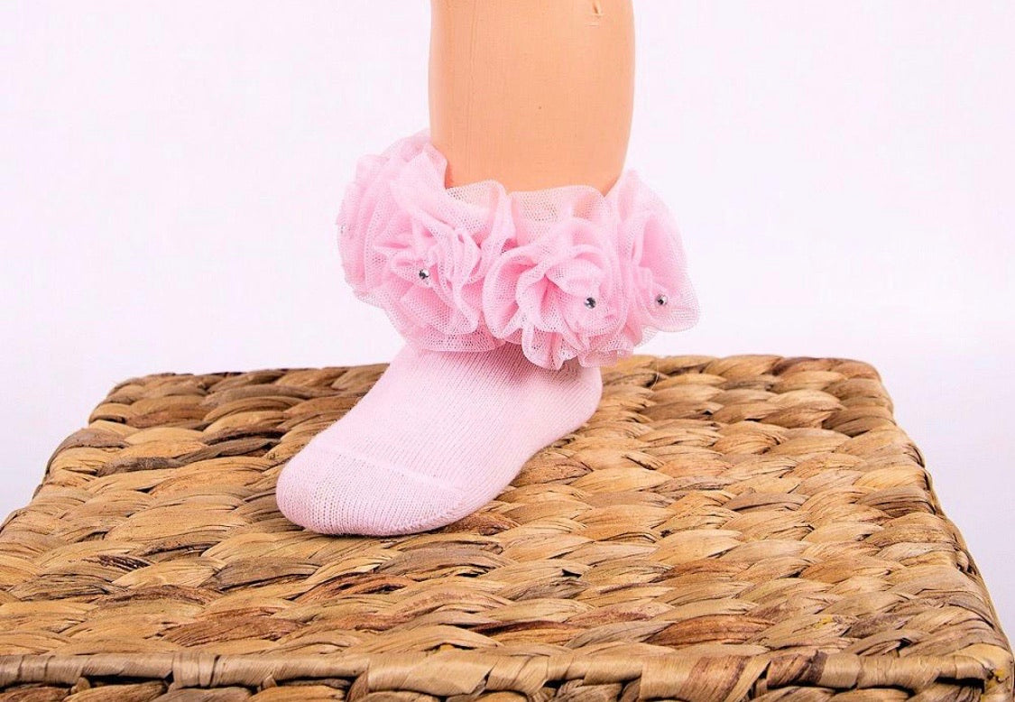beau kid pink rose bud tutu socks with diamanties gillytots childrens boutique